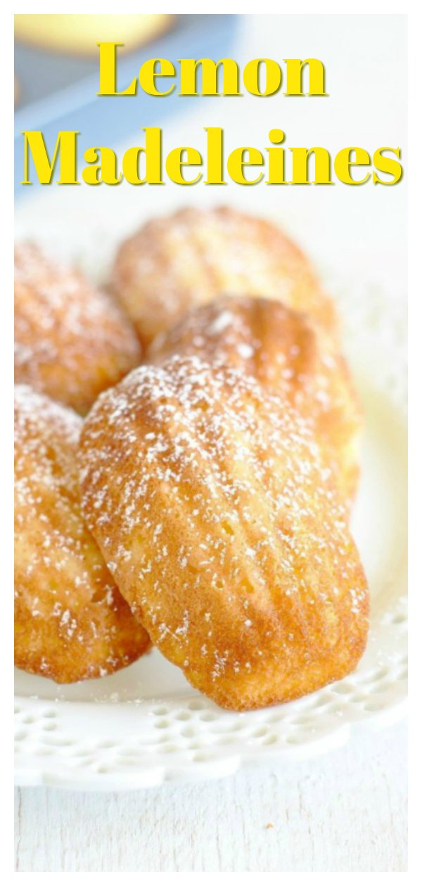 Lemon Madeleines - A delicious French dessert perfect for spring! Light lemon cakes baked in a shell-shaped madeleine pan and topped with powdered sugar. These lemon madeleines are pure perfection! French Madeleines Recipe | Lemon Madeleine | Madeleine Cake Recipe