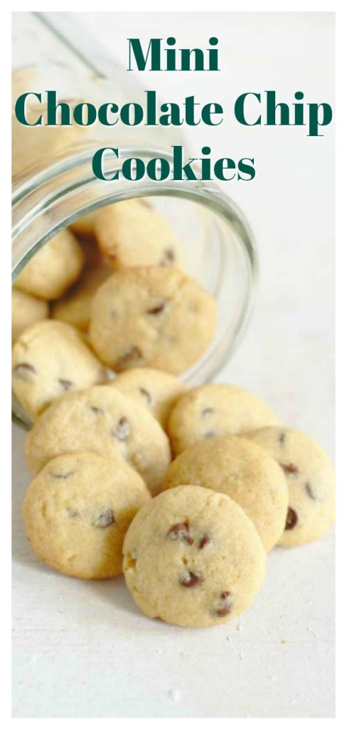 Mini Chocolate Chip Cookies - A quick and easy dessert that only takes 15 minutes to make! Bite sized cookies filled with lots of chocolate chips.  This easy chocolate chip cookie recipe is addicting! Chocolate Chip Cookie Recipe | Chocolate Cookies | Mini Dessert Recipe