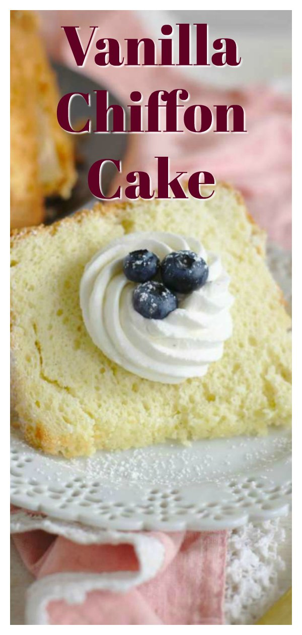 Vanilla Bean Chiffon Cake - A light and fluffy cake that melts in your mouth! This mile high cake is made with vanilla beans and topped with vanilla bean whipped cream! Vanilla Bean Chiffon Cake is perfect for birthdays or a simple dessert! Chiffon Cake Recipe | Vanilla Cake Recipe | Easy Cake Recipe