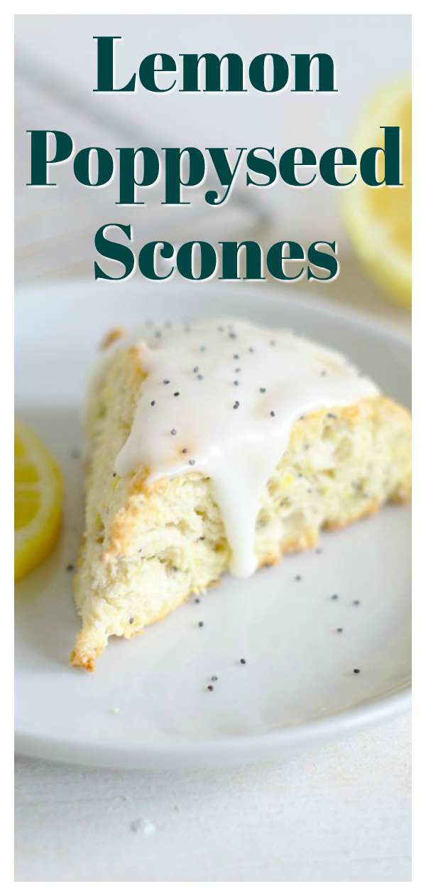 Lemon Poppyseed Scones - A delicious baked treat perfect for breakfast with tea! A classic scones with fresh lemon juice and poppyseeds! Easy Scone Recipe | Lemon Scones | Lemon Poppyseed Recipe