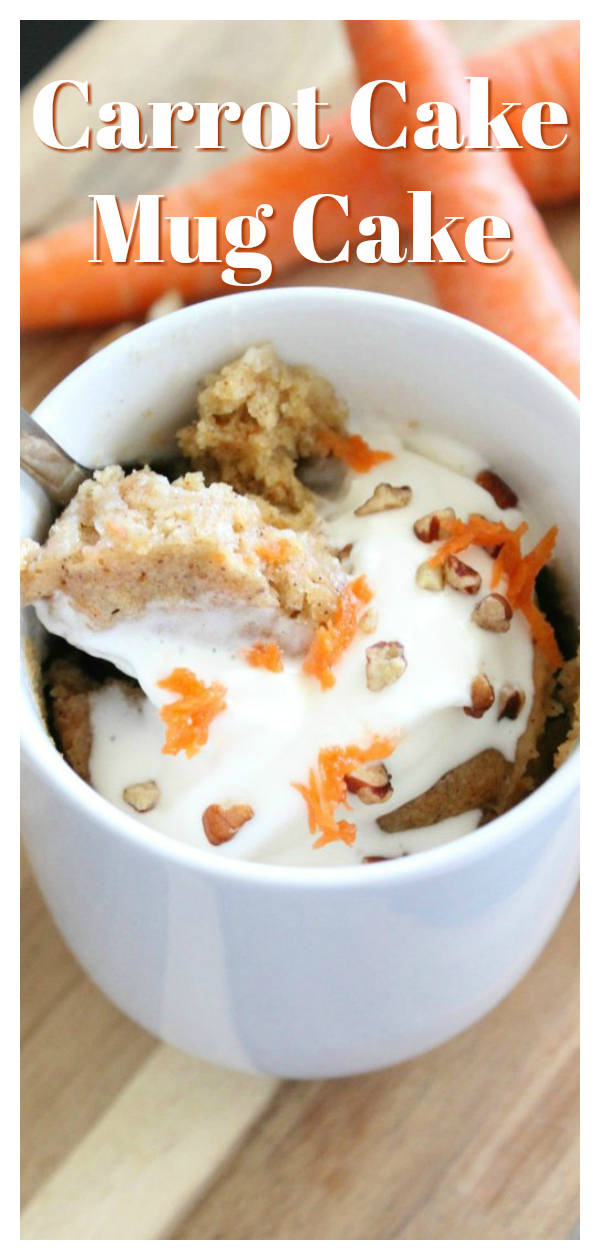 Carrot Cake Mug Cake - A perfect one-serving dessert that tastes just like a carrot cake! It is a delicious treat that is sure to be a new favorite! Mug Cake Recipe | Easy Mug Cake | Carrot Cake