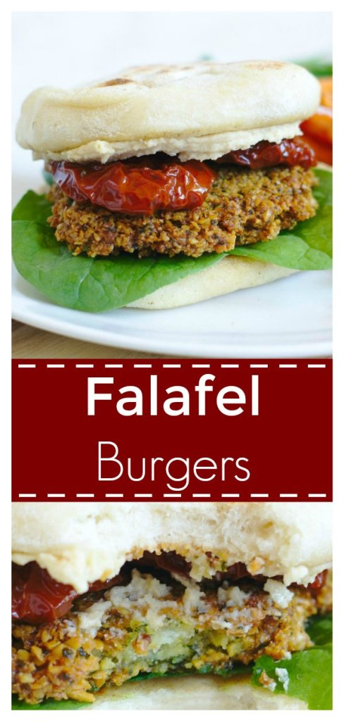 Falafel Burgers - A delicious spin on classic falafel perfect for summer. Homemade falafel formed into a patty and served with pita bread and hummus! Falafel Recipe | Vegan Recipe | Chickpea Recipe #falafel #vegan #vegetarian #dinner #easydinner #recipe #easyrecipe