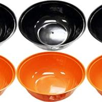 "Set of 6 Halloween Serving Bowls! 12"" Diameter - Deep Large Bowl - BPA FREE - Perfect for Candy, Parties, Tasty Food, Events, and More! (6, Black & Orange)"