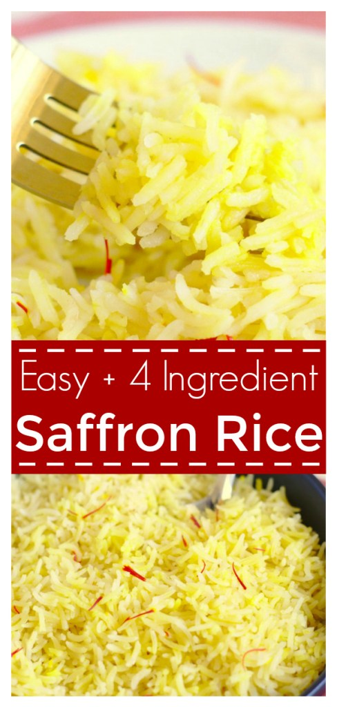 Saffron Rice - A quick and easy side dish filled with flavor. Made with just four simple ingredients, this rice is perfect served with everything from Indian to Spanish food. Saffron Rice Recipe | Rice Recipe | Saffron Recipe #rice #sidedish #recipe #easyrecipe #saffron