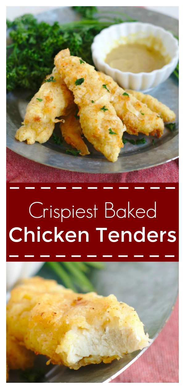 Crispiest Baked Chicken Tenders - This is the ultimate way to make crispy chicken tenders at home! No frying necessary and made with just a few ingredients (including Argo Corn Starch)! Chicken Strips | Baked Chicken Strips | Baked Chicken Tenders #chicken #dinner #easydinner #easyrecipe #recipe #ad #CrispiestChicken #CrispyCreations