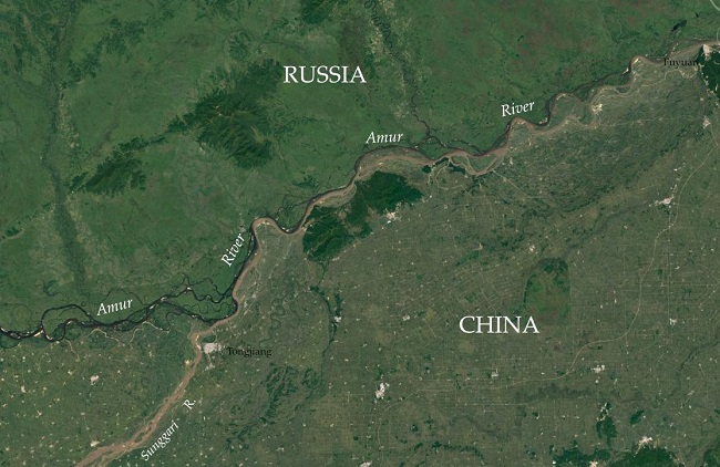 The Chinese-Russia border and population densities over there: