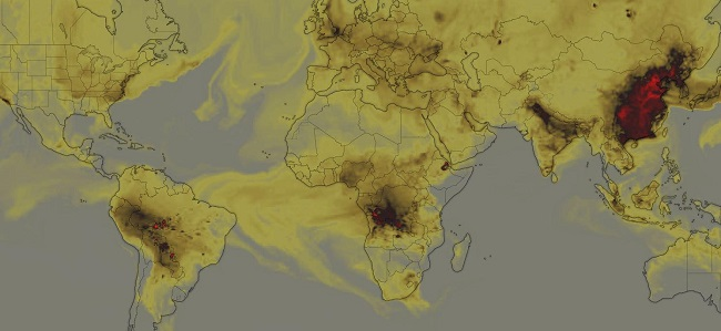 CO emissions in the world due to forest fires: