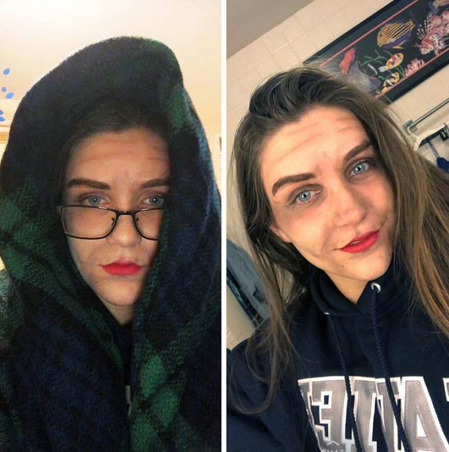 This girl dresses like an old lady to prove that she's old enough to buy alcohol.'