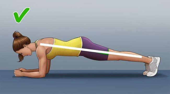 The correct technique for plank