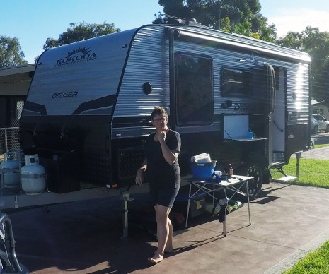 Inspecting the newly delivered Caravan in Melbourne