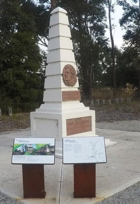 Monument to Sir Paweł Edmund Strzelecki, he also explored most of Tasmania
