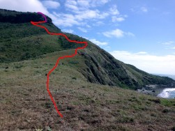 The red line is the track we both climbed the purple is the cliff face climb I made to the top