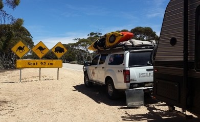 Yes this is a real road sign, funny though all we saw for the next 92km were emus