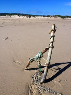 It is either some modern beach art or WWI coastal fortifications