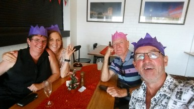 Xmas lunch with our good friends Jan and Alex