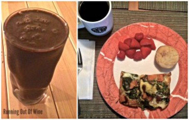 a smoothie, egg frittata, paleo muffin, fruit and coffee