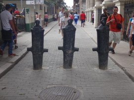 Bollards made of old cannon