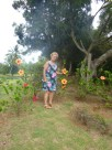 Ann and the giant hibiscus