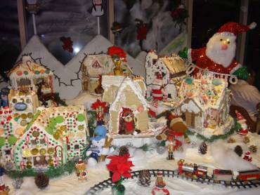 Gingerbread houses display.