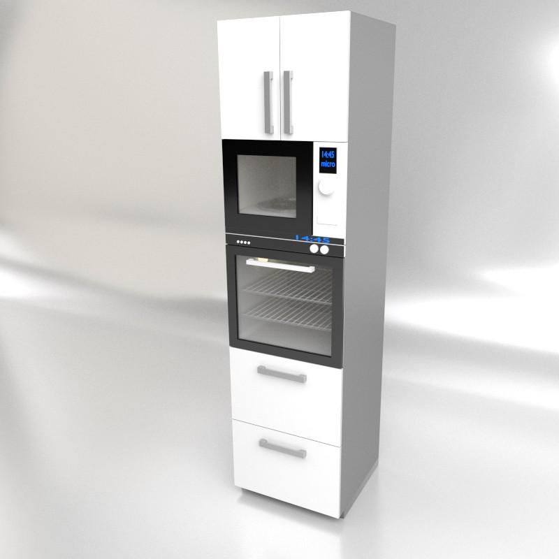 columna de cocina para horno y microondas con dos caceroleros