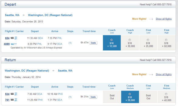 There were a few options still at the 12,500 level for travel to DCA from SEA.  I was pleasantly surprised.