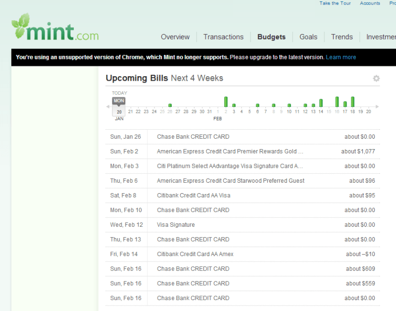 "As Soon as you log into your mint you're presented with an ""Upcoming Bill"" overview. You can roll over each of the green sticks and see which bill is due which day. The size of the chart lines also represent the amount of the bill.  A handly list of all bills and due dates can be found below the chart."
