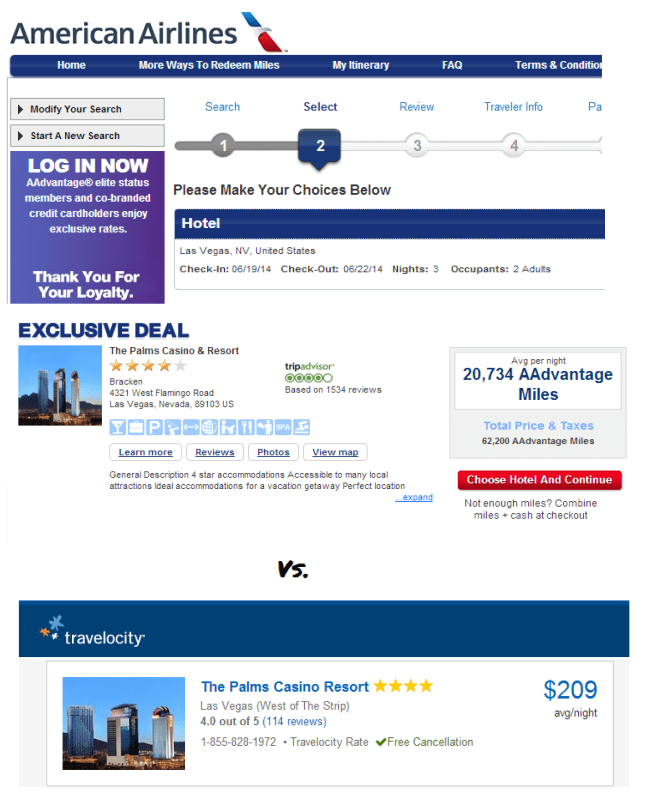 62,000 AA miles versus $618 in cash. Remember to compare apples to apples--find a hotel you're looking to pay cash for first, then check the mileage requirement. Doing the opposite may mean you're cherry picking a high mileage hotel which has a good redemption rate--but could save more money (or miles) at an equally comfortable hotel.