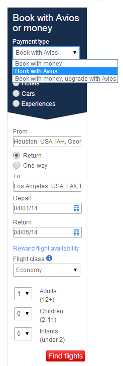 BA Search IAH-LAX