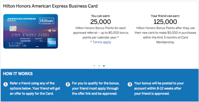 AmEx Hilton Business Eligible for Referral [25,000 for you, 125,000