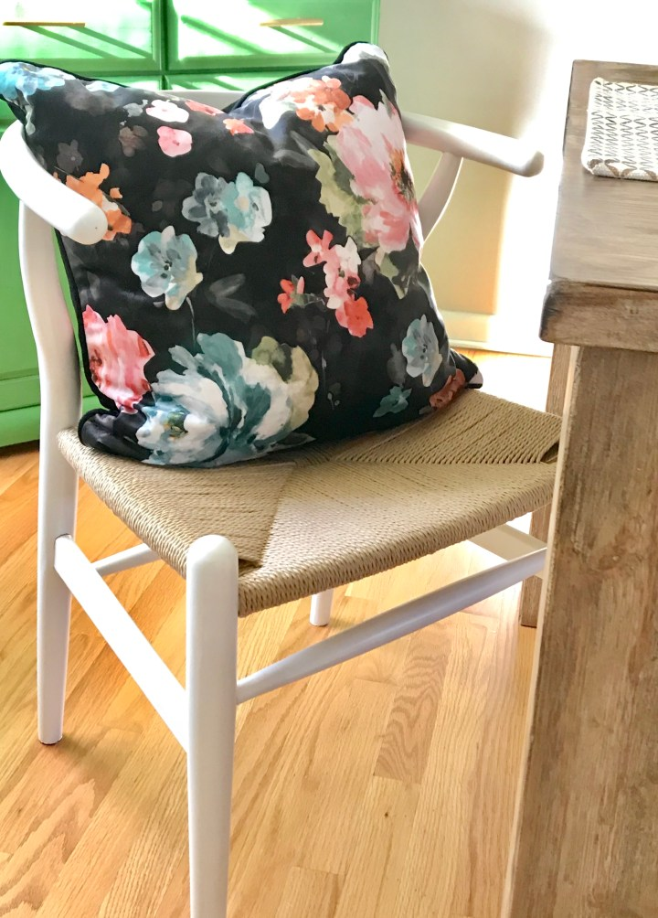 Pillows on dining room chairs