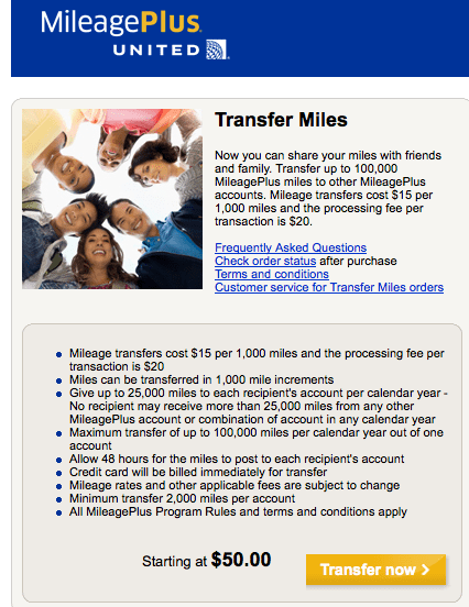 transfer United miles
