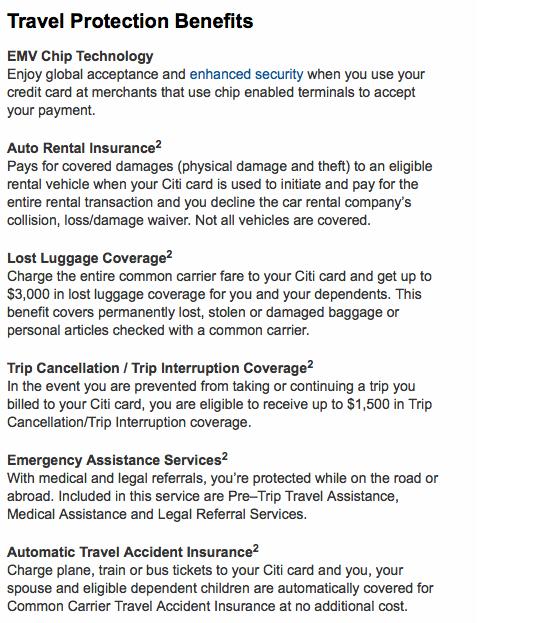 citi travel insurance