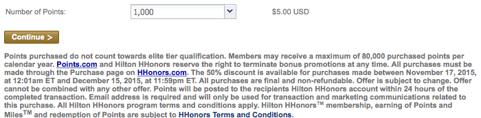 hilton points purchase