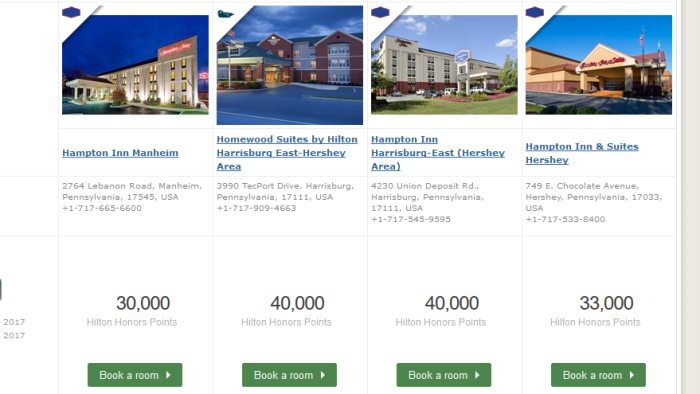 Hilton options near Hershey, PA