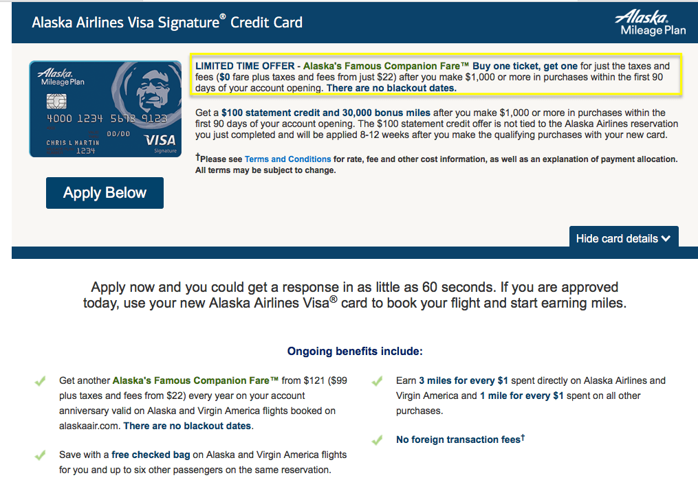 Alaska Airlines firma tarjeta visa