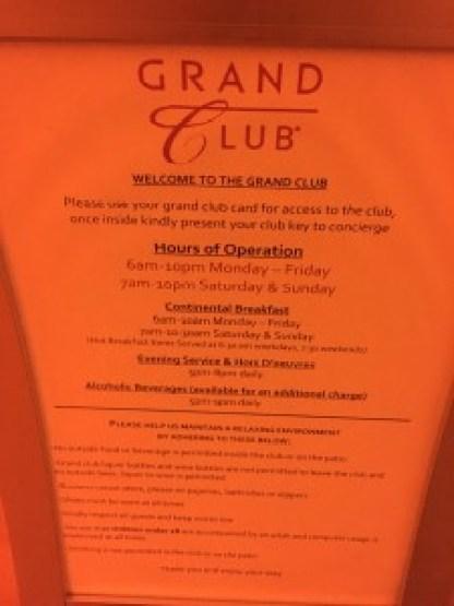 Grand Hyatt New York - Grand Club Hours