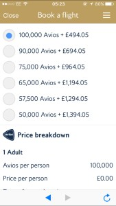 Pay with avios cash