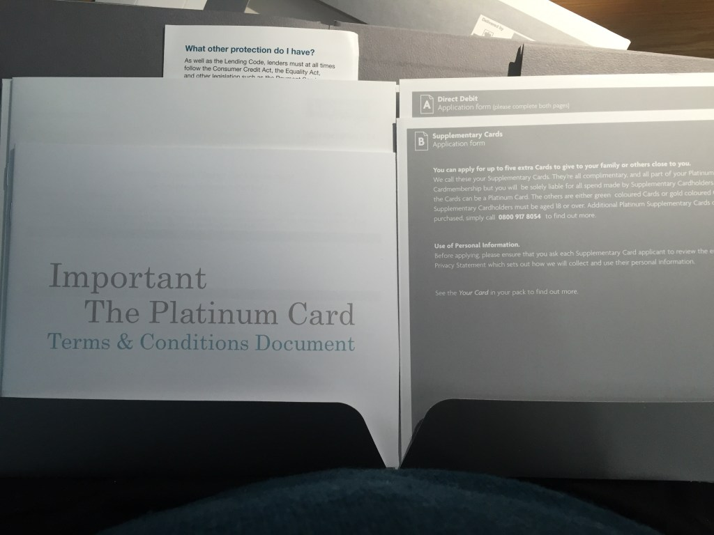 UK Platinum Amex pack