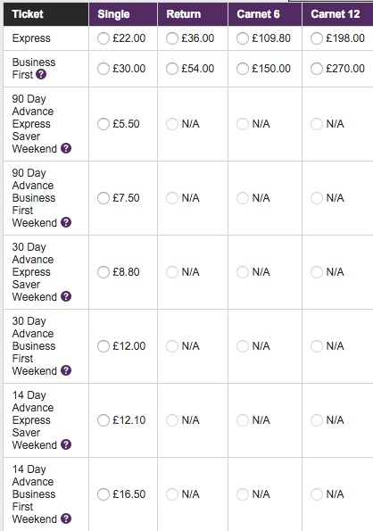 Heathrow Express fares