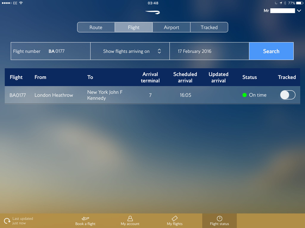 Flight Status ipad