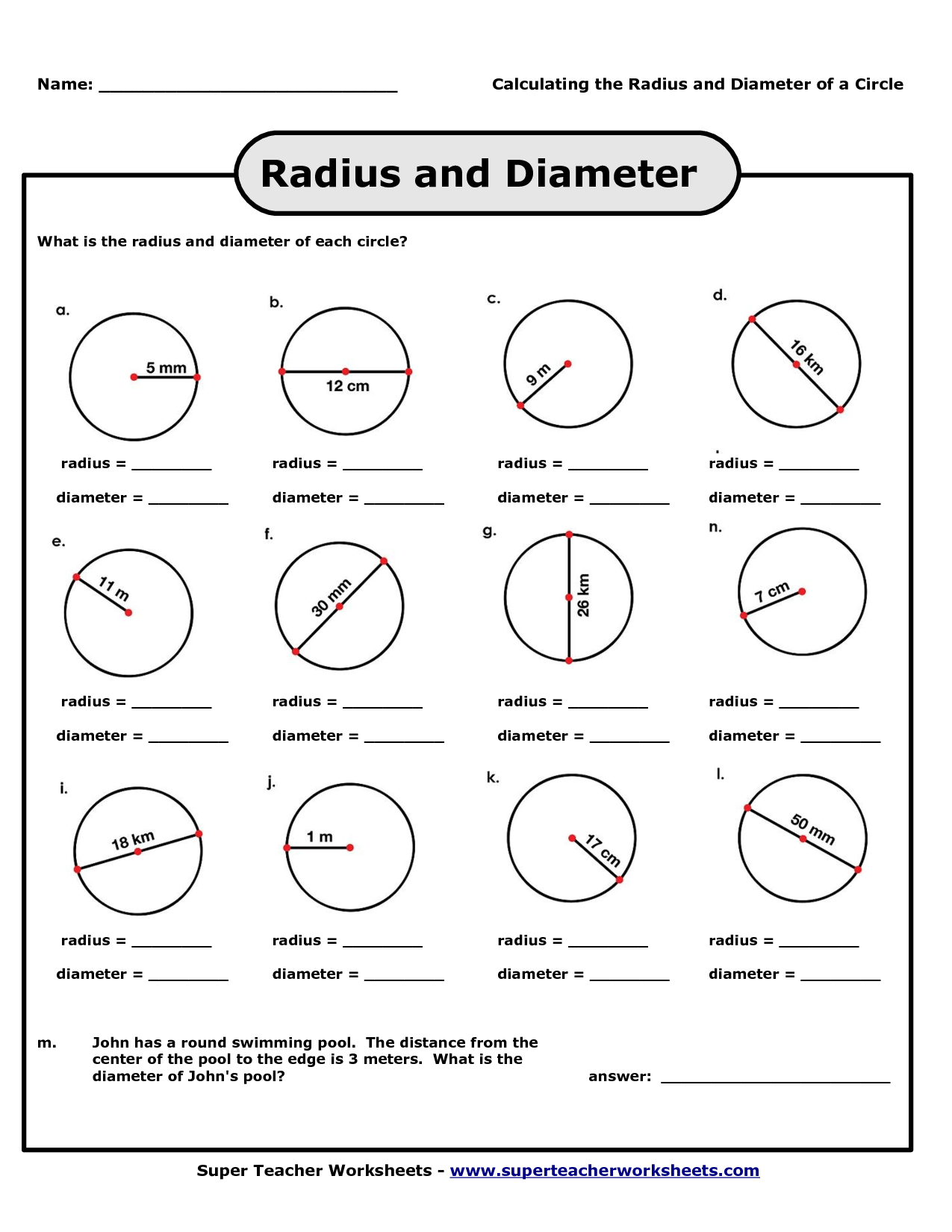 Radius And Diameter Worksheet