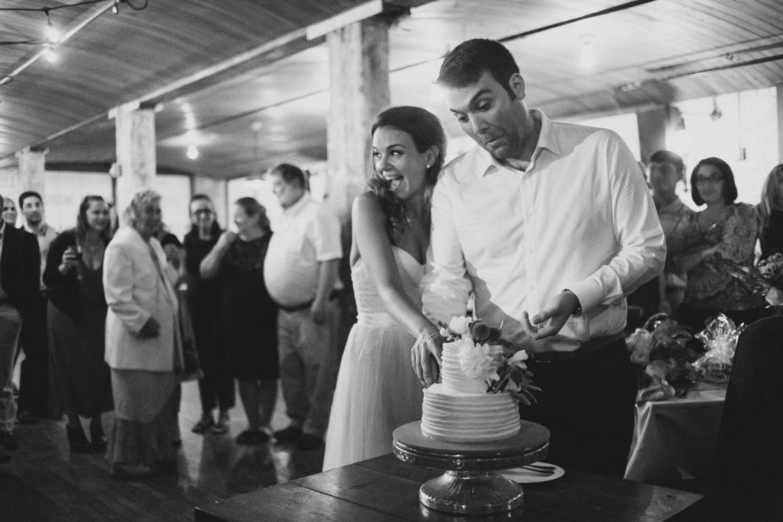 Cutting our wedding cake