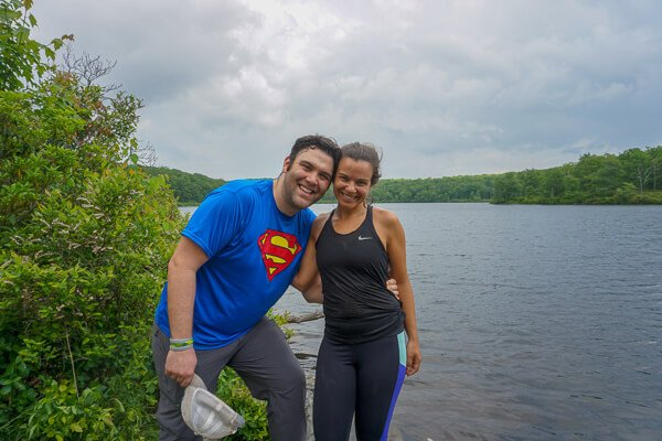 Couple at pond at top of Hike on Appalachian trail