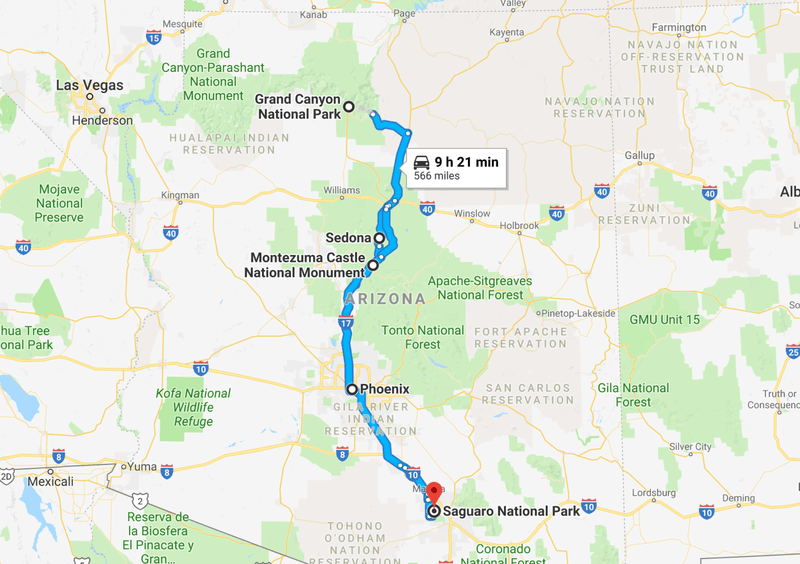 Map of Arizona Road Trip