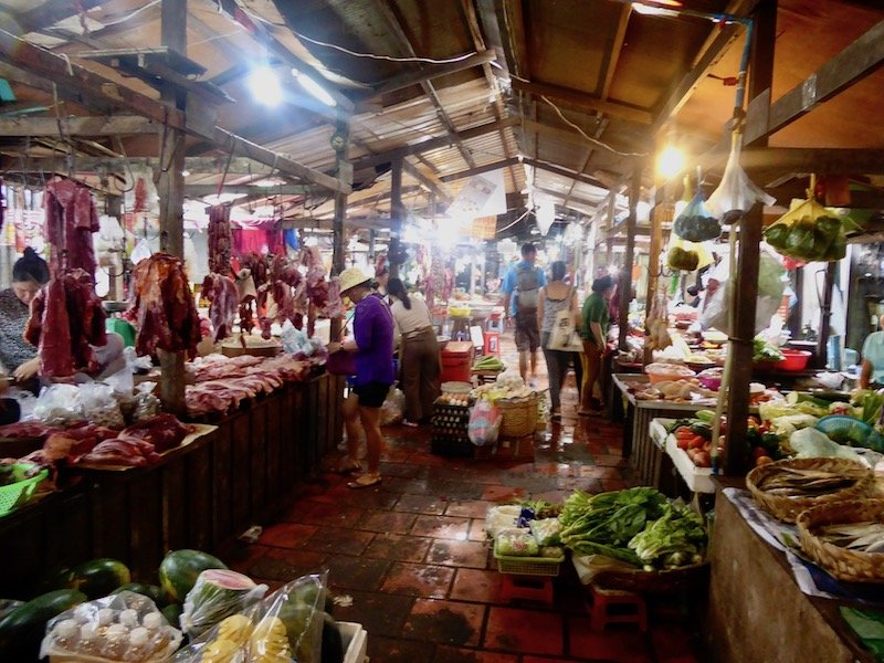 Cambodian traditional market with vendors