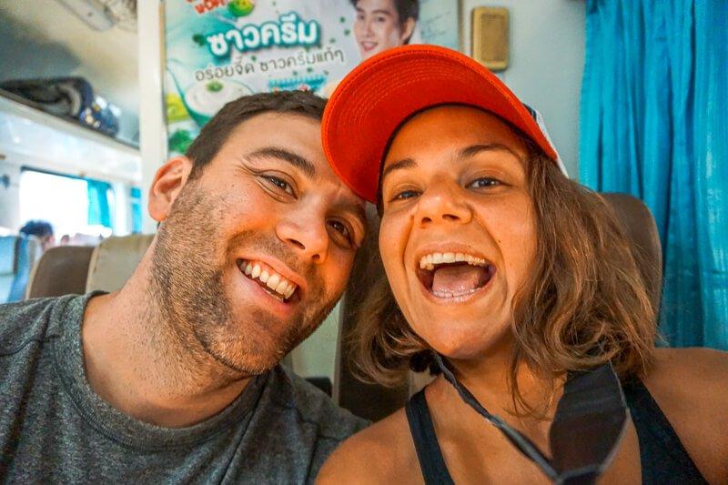 Couple on Bangkok to Chiang Mai train