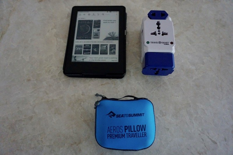 Long Term Travel Packing Kindle Adapter Pillow