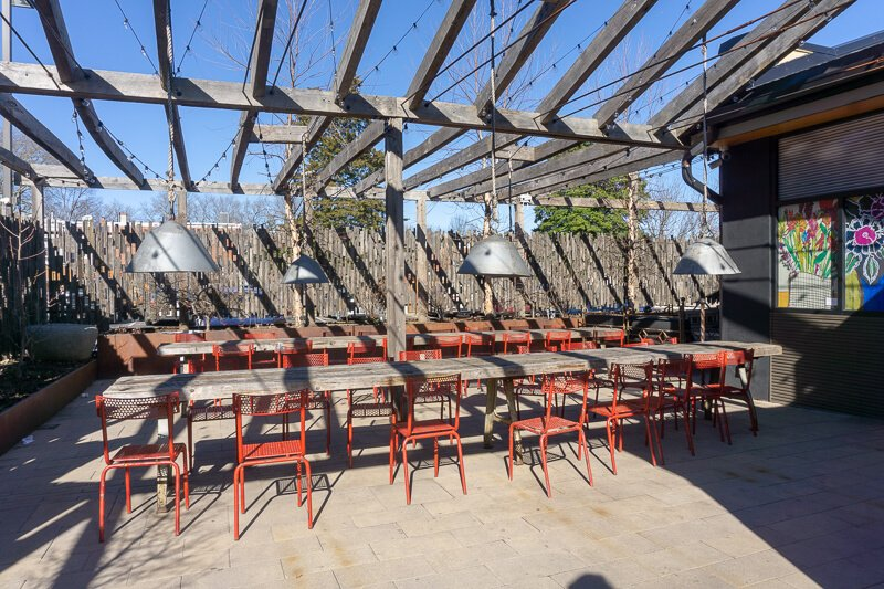 Long tables outdoors at market