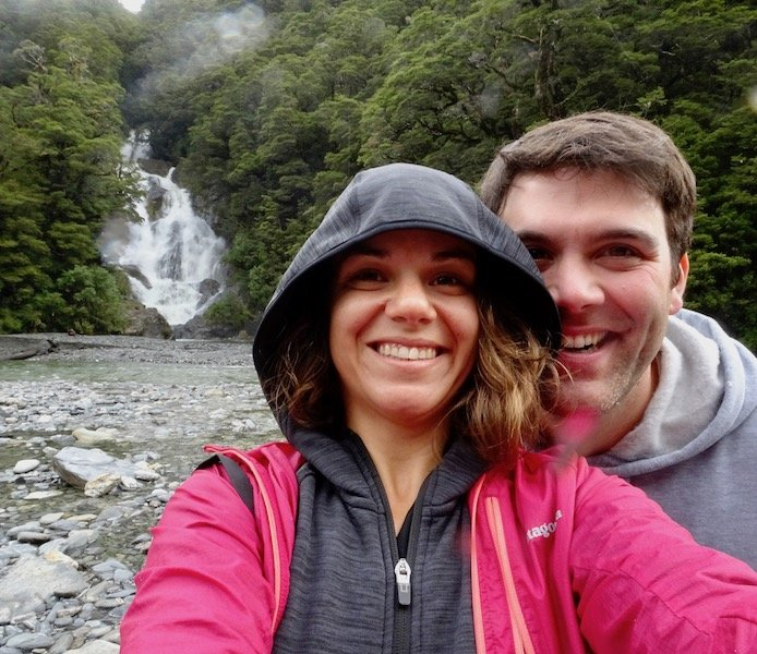 Couple Selfie in front of waterfall in New Zealand