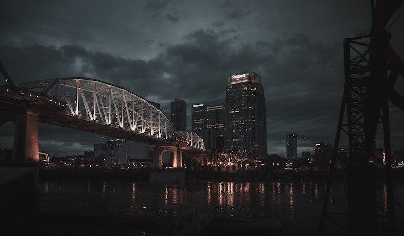 Nashville bridge with city skyline